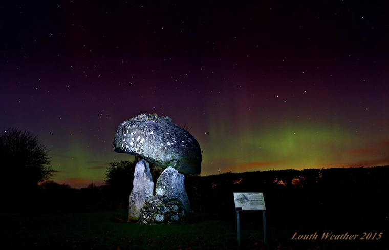 Aurora Borealis over the Proleek Dolmen